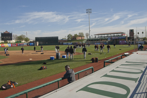 Workouts at Scottsdale Stadium for San Francisco Giants players