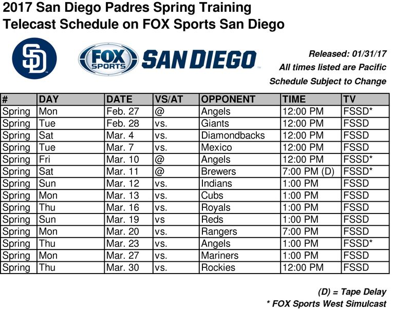 Padres 2017 spring broadcast schedule